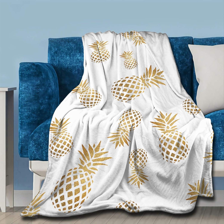 Golden Pinapple Throw Fleece Blanket Flannel Ultra Soft Lightweight Microfiber Luxury Air Conditioner Quilt for Sofa Bedroom Office Travel All Season S 50