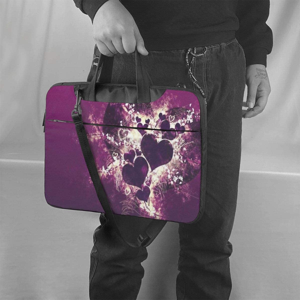 Love Heart Purple Durable Laptop Sleeve Case with Strap Fits 13-15.6in Notebook for Women NEPower Laptop Tote Bag