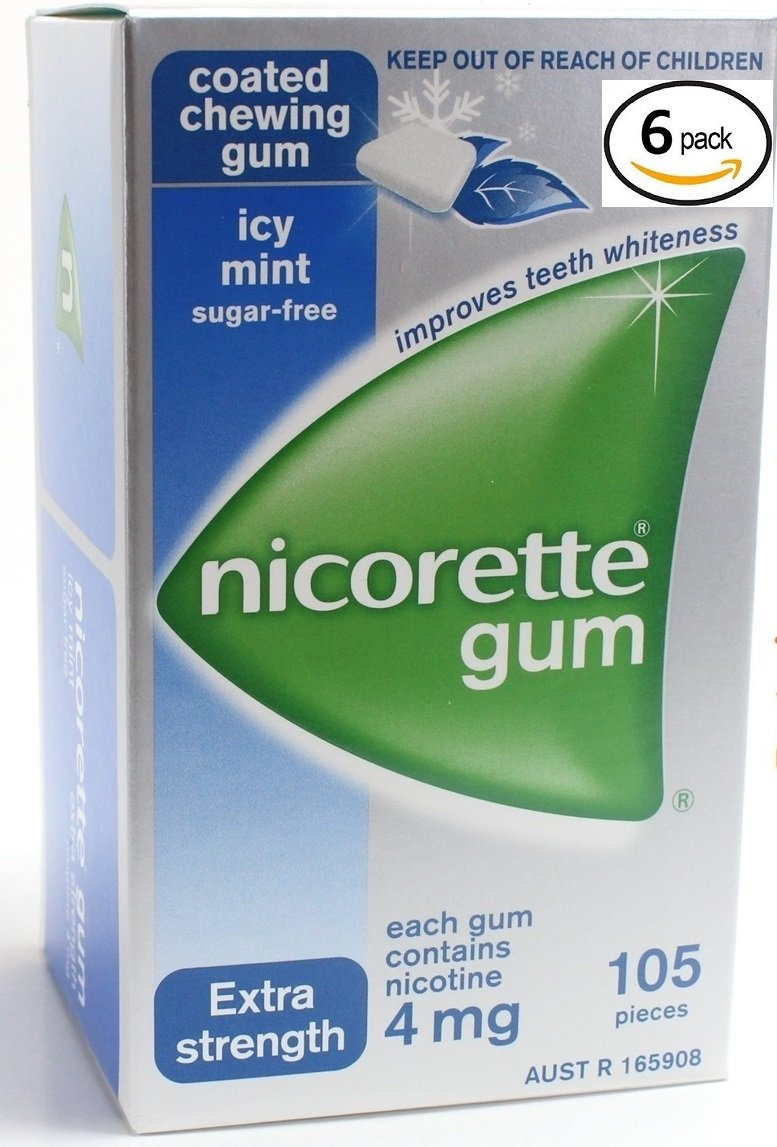 Nicorette Icy Mint Nicotine Gums 4mg. 6 Boxes of 105 each. 630 coated gums. Extra Strength