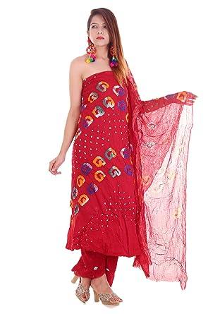 136ceee154 Amazon.com: Indian Handmade Rajasthani Bandhani Salwar Kameez Dupatta Dress  Material: Clothing