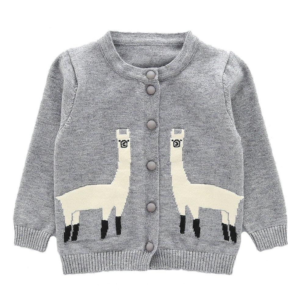 Moonnut Girls Cardigan Sweaters Cute Alpaca Pattern Long Sleeve Knitted Outwear (2T, Grey)