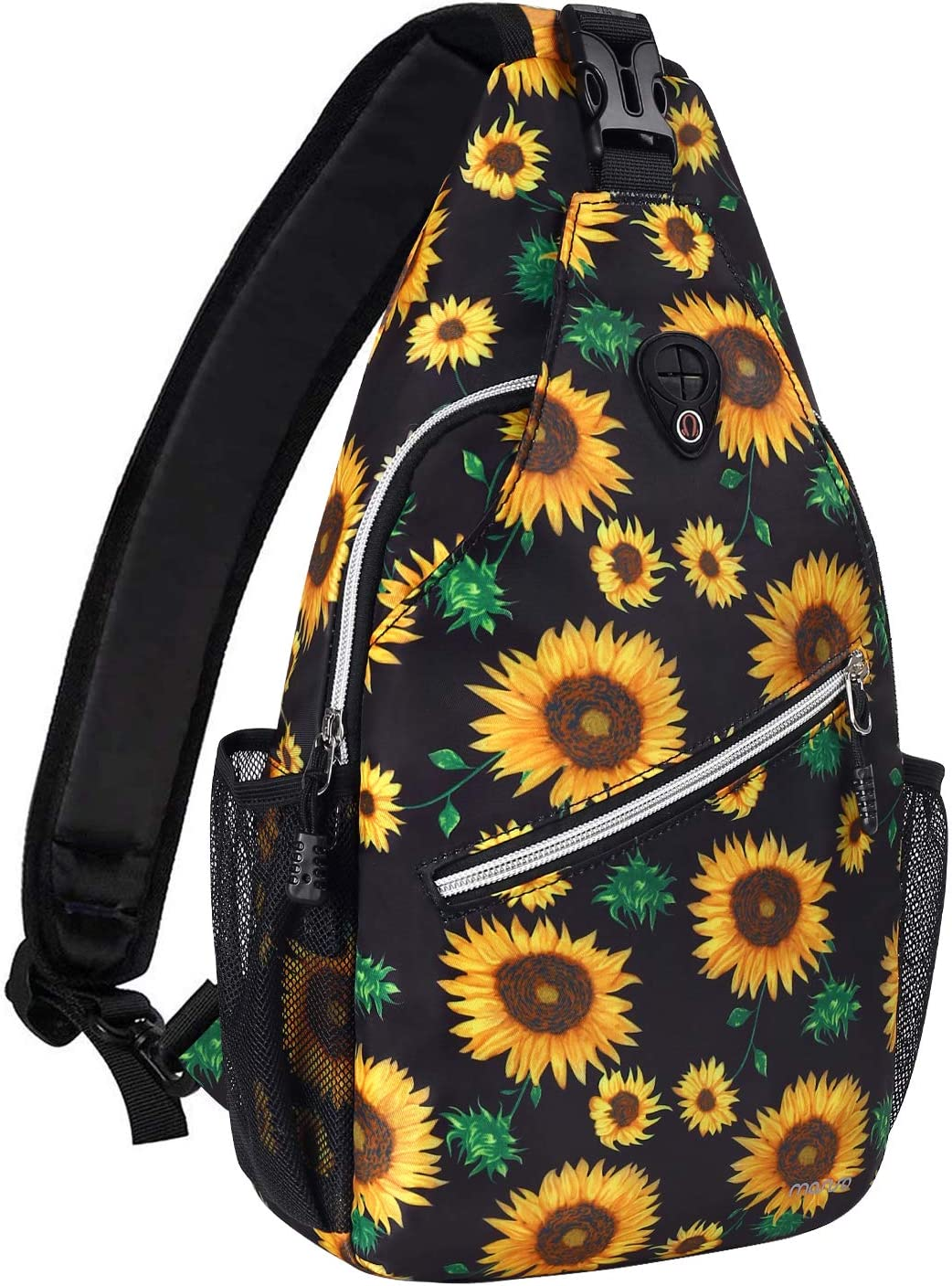 MOSISO Sling Backpack, Travel Hiking Daypack Pattern Rope Crossbody Shoulder Bag, Black Base Sunflower : Sports & Outdoors