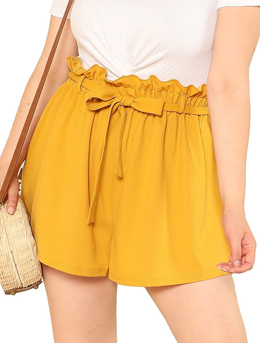 Romwe Women's Plus Size Casual Elastic Waist Summer Shorts Jersey Walking Shorts