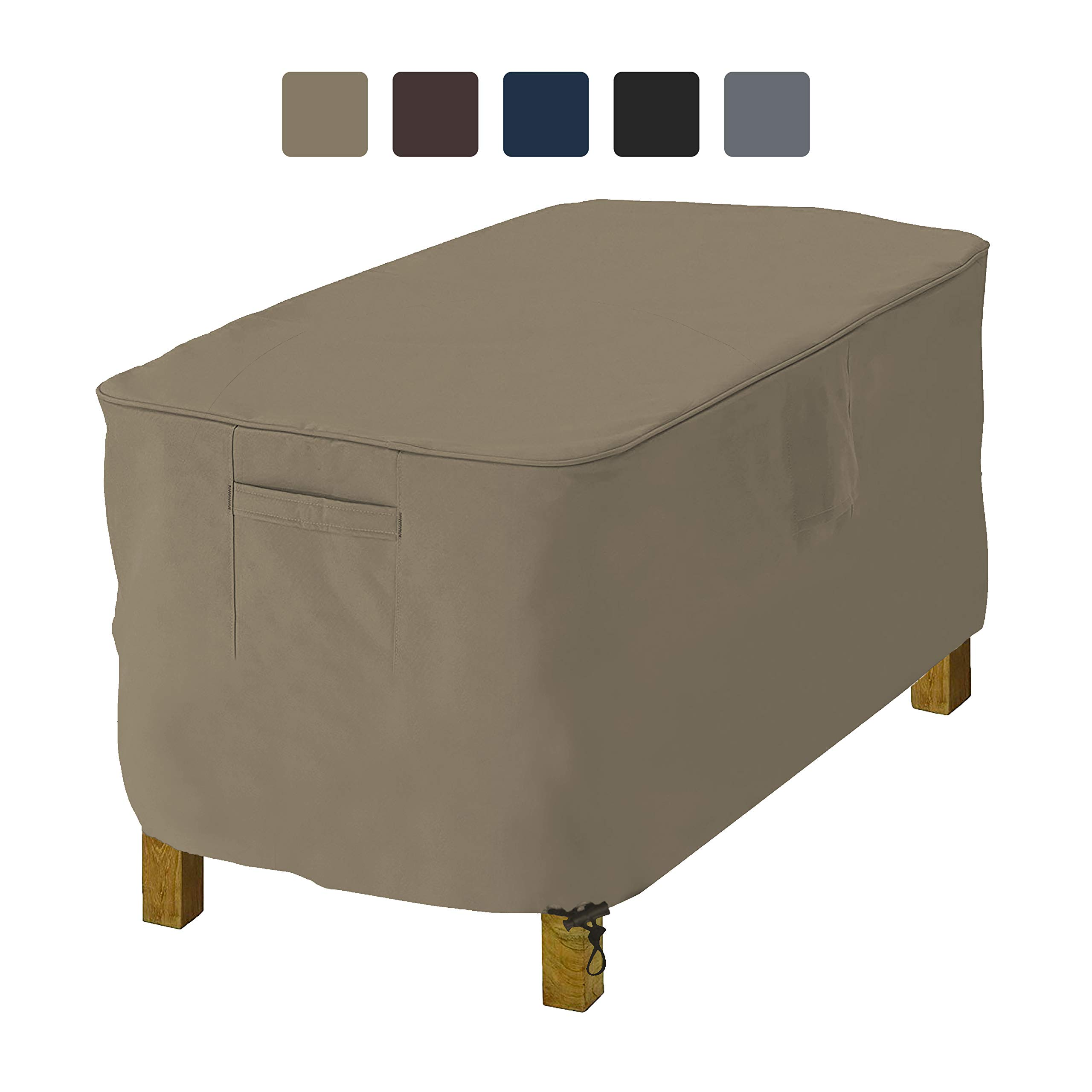 COVERS & ALL Rectangle Ottoman Cover 12 Oz Waterproof - 100% UV & Weather Resistant Outdoor Ottoman Cover with Air Pockets & Drawstring for Snug Fit (25'' W x 48'' L x 18'' H, Beige) by COVERS & ALL