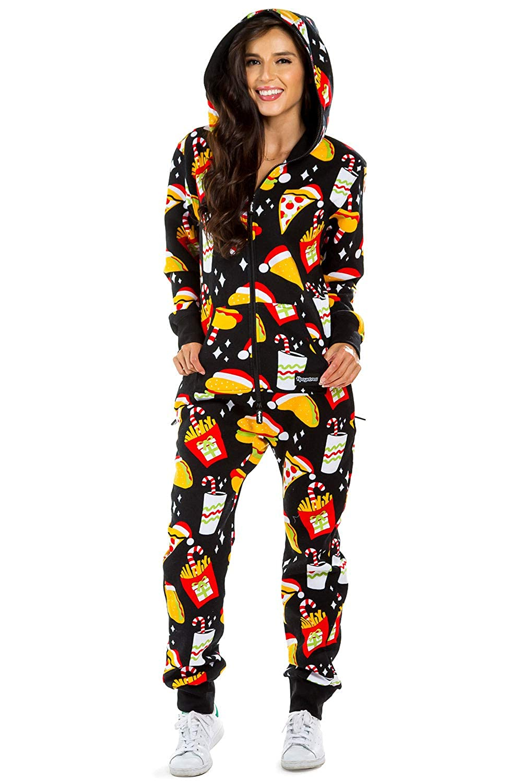 Christmas Jumpsuit Womens.Tipsy Elves Women S Black Festive Fast Food Adult Jumpsuit Christmas Onesie Pajamas
