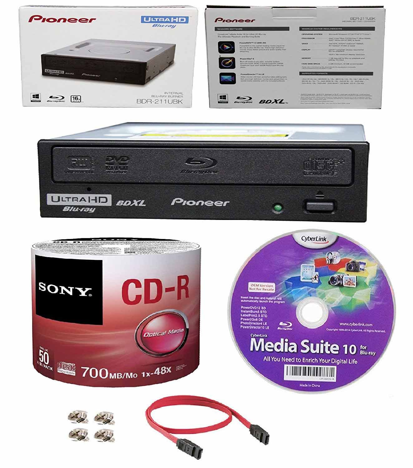 Pioneer 16x BDR-211UBK Internal Ultra HD Blu-ray BDXL Burner, Cyberlink Software and Cable Accessories Bundle with 50pk CD-R Sony 700MB 48X Recordable Media