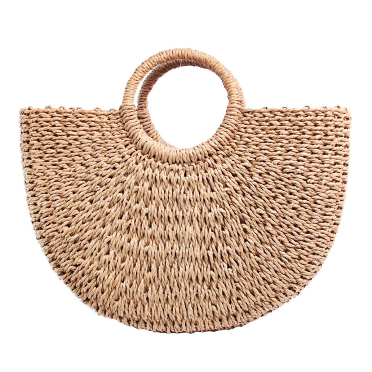 Natural Chic Straw Bag Hand Woven Moon Handle Handbags Water Hyacinth Handmade Summer Bag Beach Bag