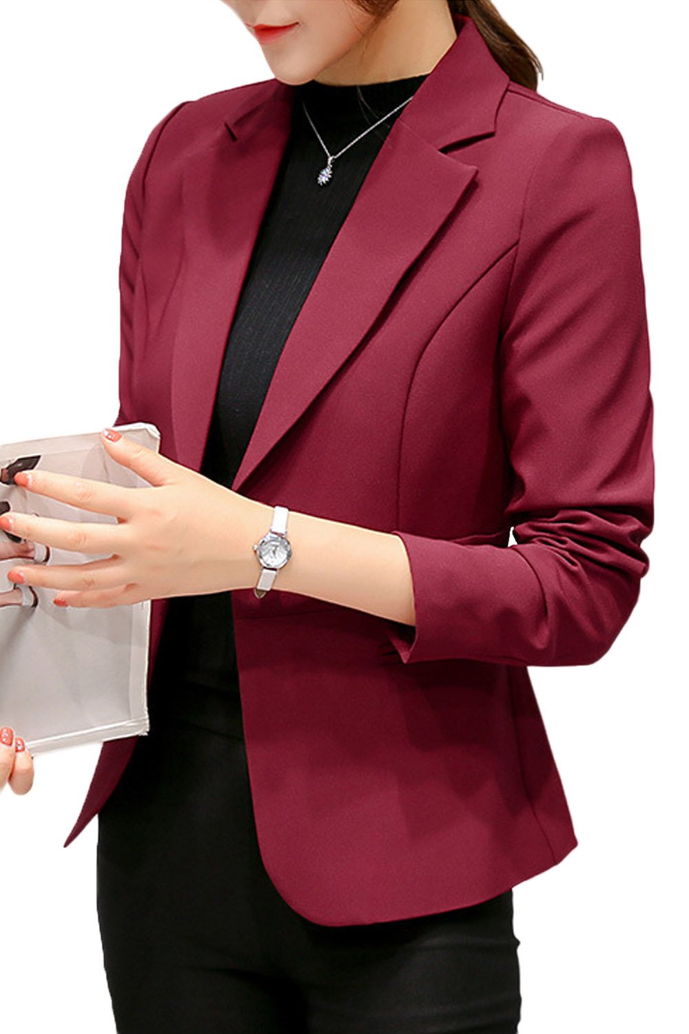 Suvotimo Women Elegant OL Business Suits Blazer Tops Jackets Outfit Winered S by Suvotimo