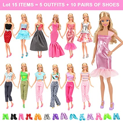 f90fd3af7793a Amazon.com  BARWA Lot 15 Items 5 Sets Fashion Casual Wear Clothes Outfit  Handmade Party Dress with 10 Pair Shoes for 11.5 Inch Girl Doll Birthday  Xmas GIF  ...