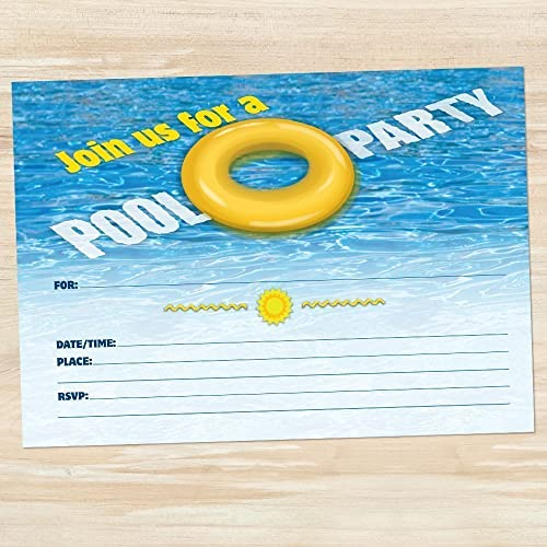 amazon com yellow ring float summer pool party invitations set of