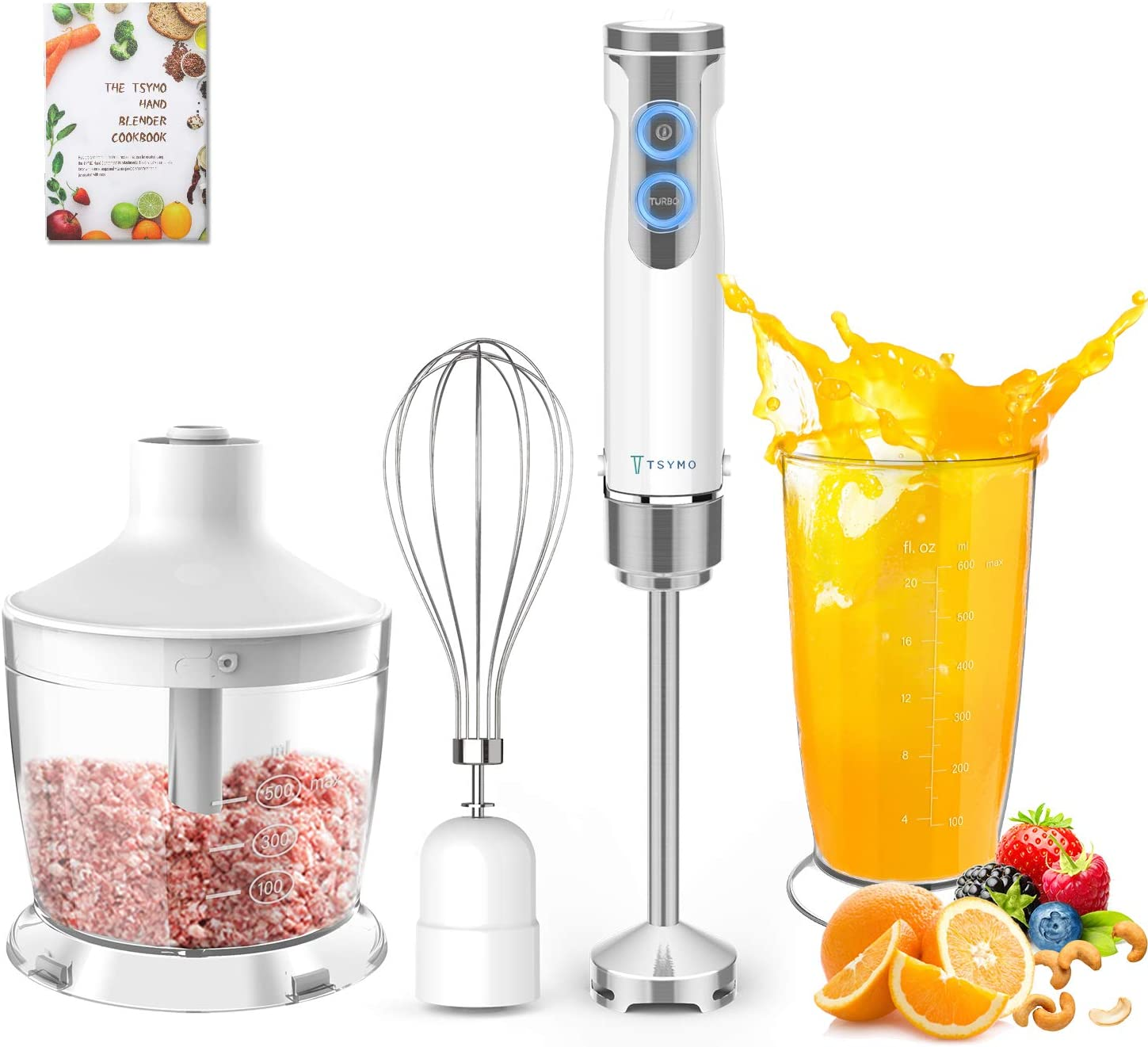 TSYMO 800W Hand Immersion Blender, 4-in-1 Hand Blender with 6-Speed+Turbo, 304 Stainless Steel Stick Blender, Mixing Cup, Food Chopper, Whisk Attachment for Smoothies, Puree Baby Food, BPA-Free