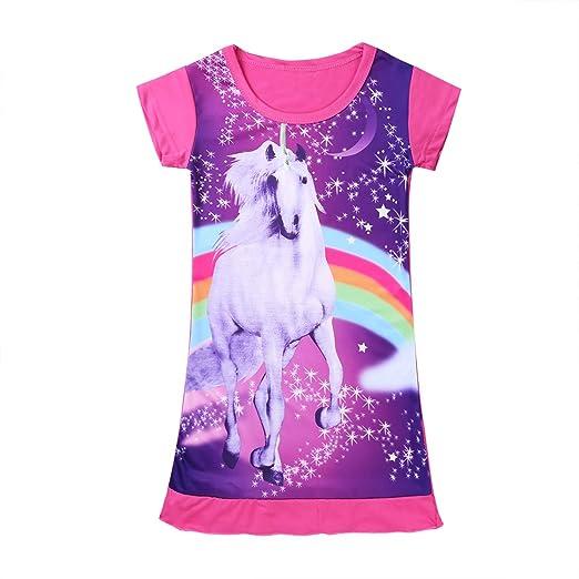 Noblelife Girls Unicorn Costumes Star Rainbow Print Nightgown Nightie Princess Night Dresses (Pink 2  sc 1 st  Amazon.com & Amazon.com: Noblelife Girls Unicorn Costumes Star Rainbow Print ...