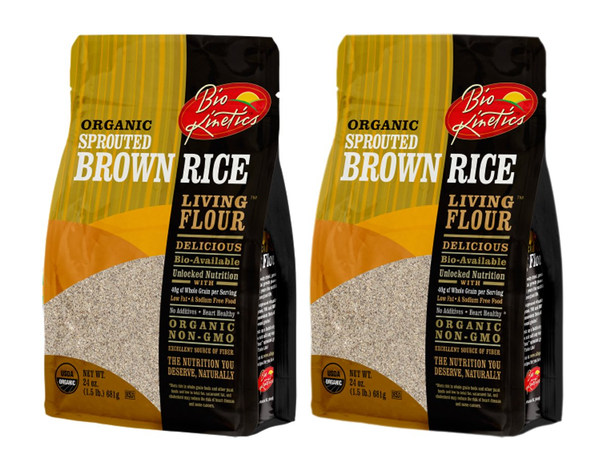 Organic, Sprouted Brown Rice Flour, Non-GMO, Bio-Available with a Great Taste (24 oz) - Pack of 2 by Bio-Kinetics