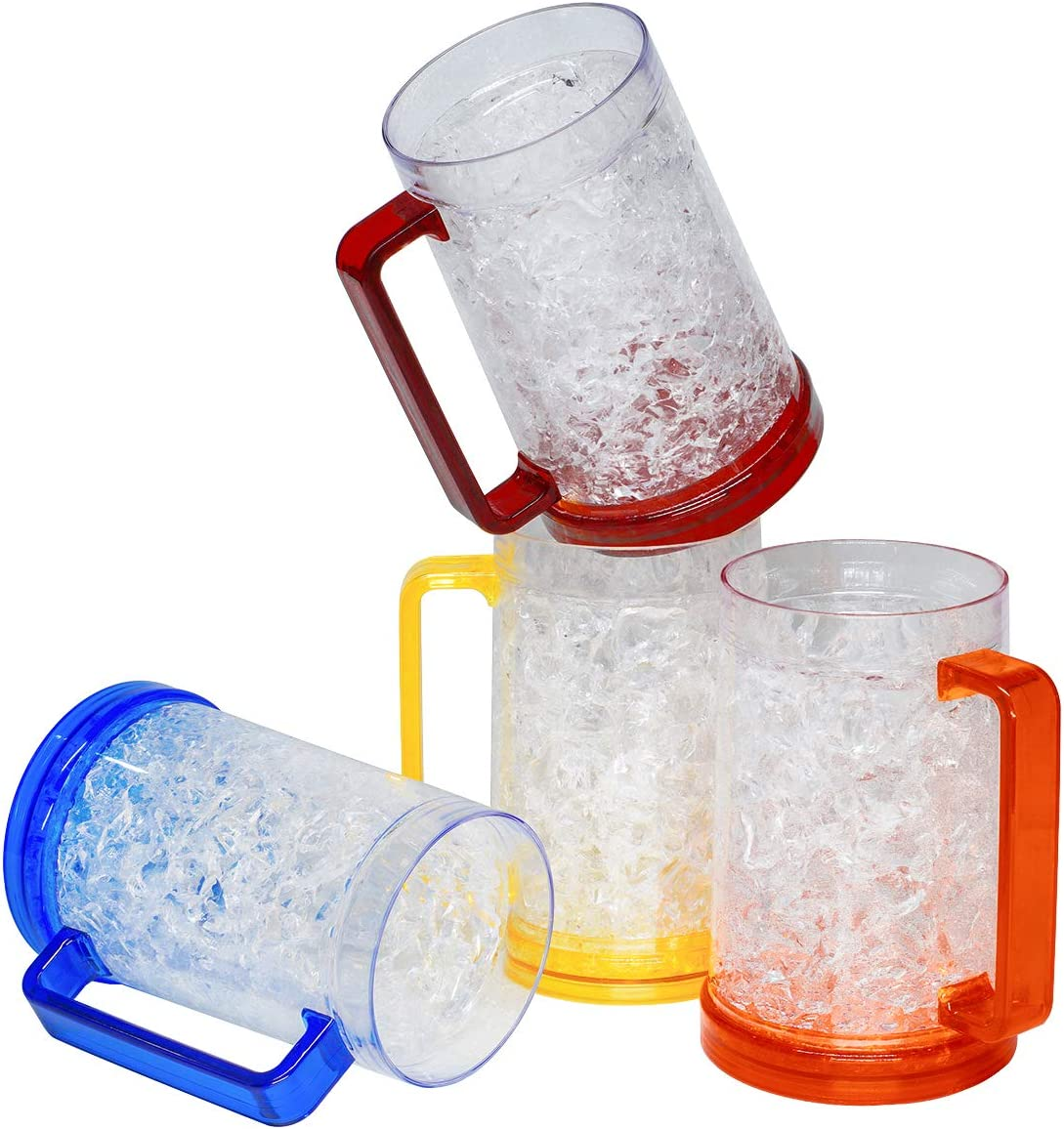 Double Wall Gel Frosty Freezer Ice Mugs, Set of 4 Frosty Beer Mugs with Handle Great as Old Fashion Drinking Glasses at BBQs and Parties (16 oz. Each)
