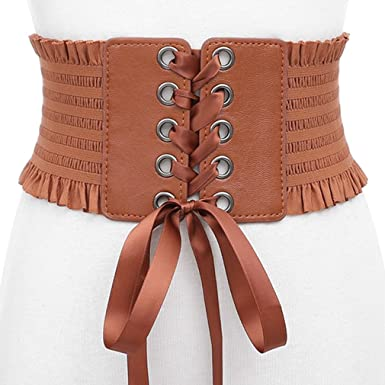 086bfe1a7a Women Elastic Wide Waist Corset Belt Stretch Tied Waist Band Cinch Belt  With Metal Press Button Lace Fringe Bow Tie Fashion Skirt Bandage  Decorative Multi ...