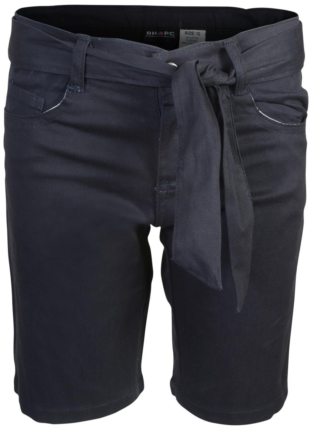 Beverly Hills Polo Club Girls School Uniform Belted Bermuda Shorts, Navy, Size 10' by Beverly Hills Polo Club (Image #2)