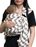 Vlokup Baby Ring Sling Carrier for Newborn Original Adjustable Infant Lightly Padded Wrap Breastfeeding Privacy 100% Cotton Gray Wave