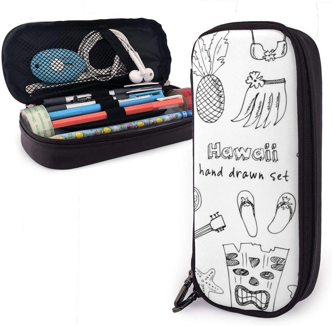 Símbolos e íconos de Hawái, incluida la falda Hula Bolígrafo lindo Estuche para lápices Bolso de cuero Estuche para lápices con doble cremallera Estuche para oficina escolar Niñas Niños Adultos