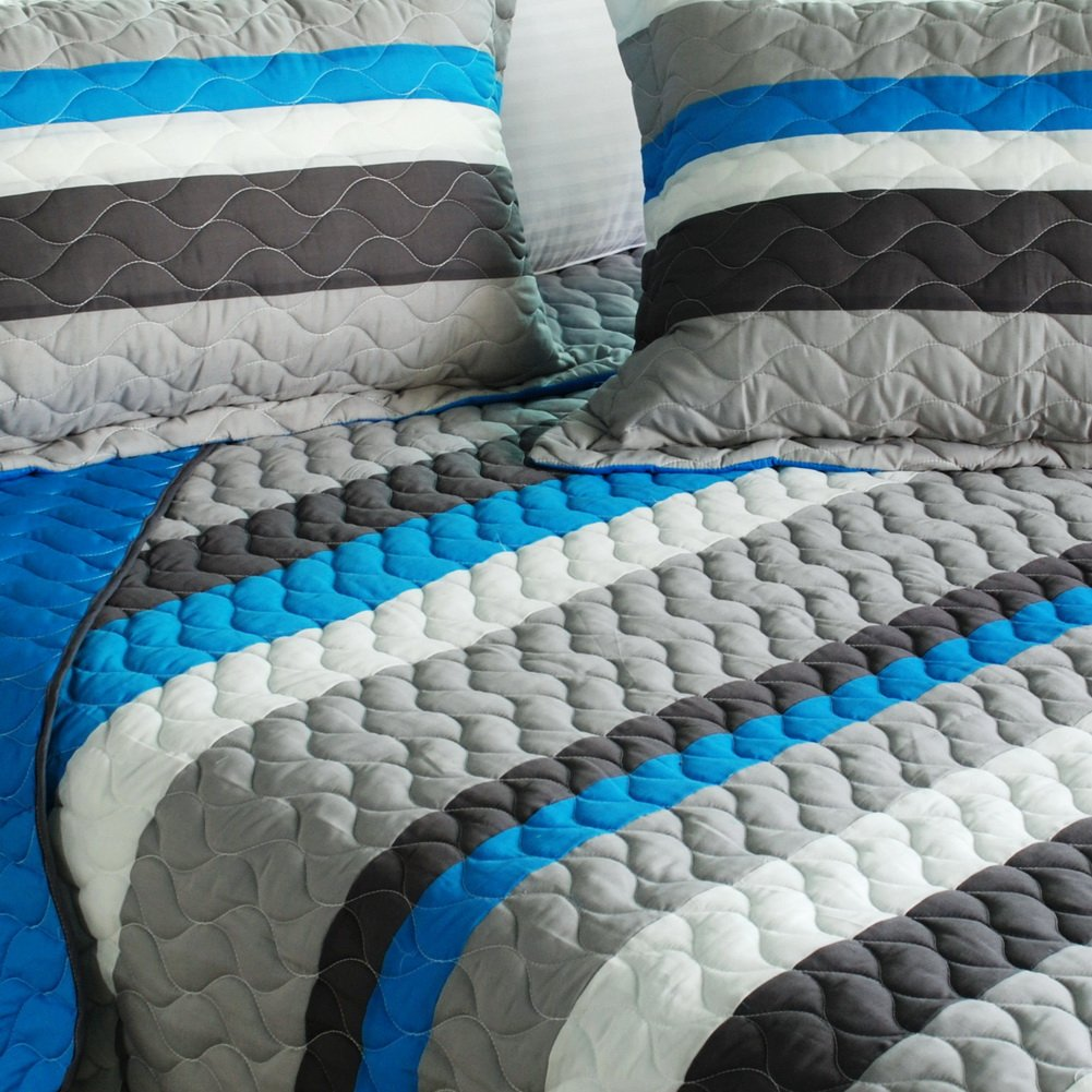 [Health Life] 3PC Vermicelli-Quilted Striped Quilt Set (Full/Queen Size) by Onitiva Quilt (Image #2)