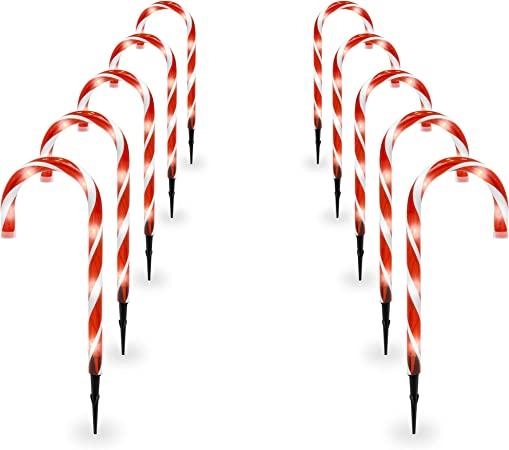 Set Of 6 Holiday Show Home Multi Function Color Changing Candy Cane App Lights
