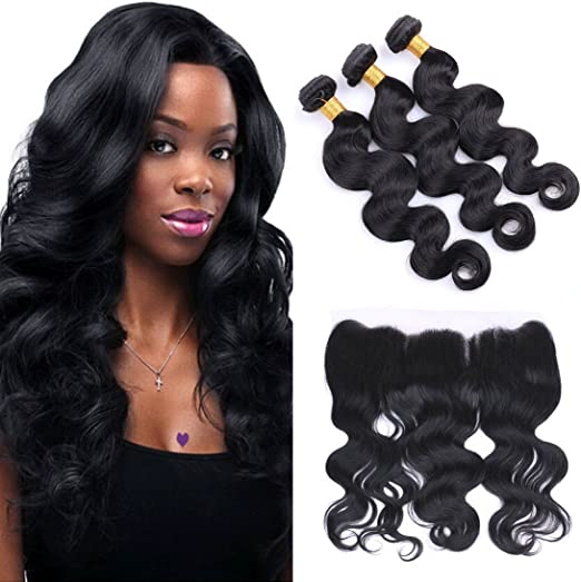 Brazilian Hair Bundles With Lace Frontal Human Hair Lace Closure Only 13x4 Free Part Body Wave Hair Weave Virgin Baby Hair Natural Color Presents For ...