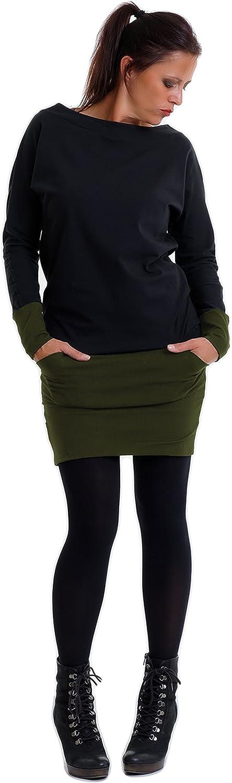 3Elfen Robe Pull Femme - Sweat Hiver Robes avec des Poches de Noir Olive.