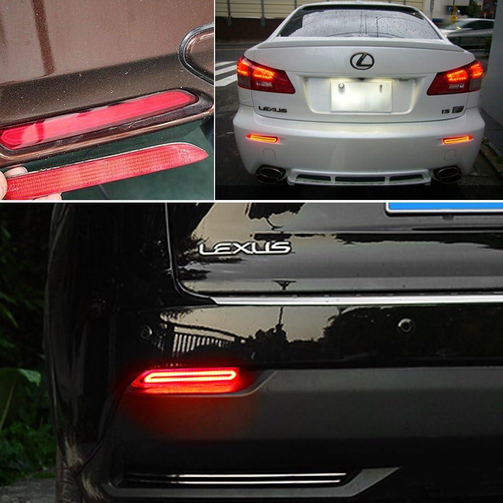 GTINTHEBOX 2PCS 3D Optic Smoked Lens Red LED Rear Bumper Reflectors Brake Tail Light etc Rear Fog Lighting Lamps Kit For Lexus RC NX IS-F or RX GX