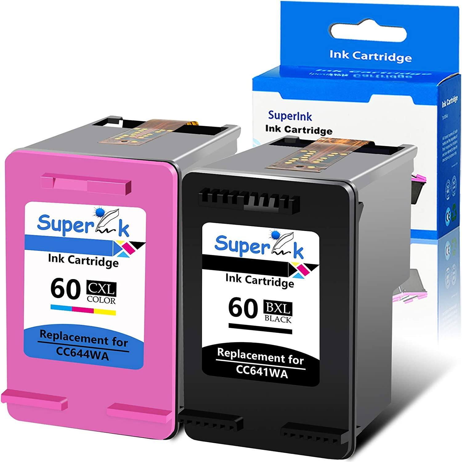 SuperInk 2 Pack Remanufactured Ink Cartridge Compatible for HP 60 60XL CC641WA CC644WA (1 Black,1 Tri-Color) Replacement for Deskjet D1660 D1663 PhotoSmart C4600 C4610 Envy 100 110 All-in-One Printer