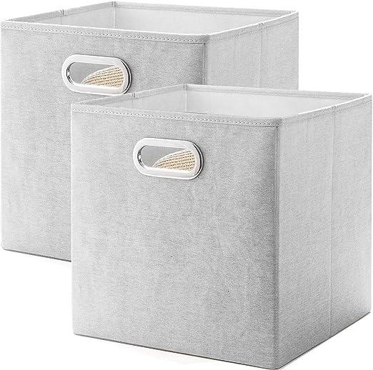MEETMISS Cajas Almacenaje Juego de 2 Cubos de Tela Plegable ...