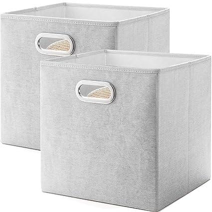 MEETMISS Cajas Almacenaje, Juego de 2 Cubos de Tela Plegable Organizadores para Armarios Cajas de