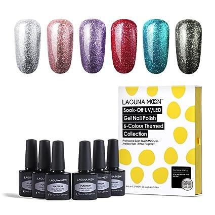 Lagunamoon - Esmalte de uñas de gel UV LED para remojar platino (6 unidades). Pasa ...