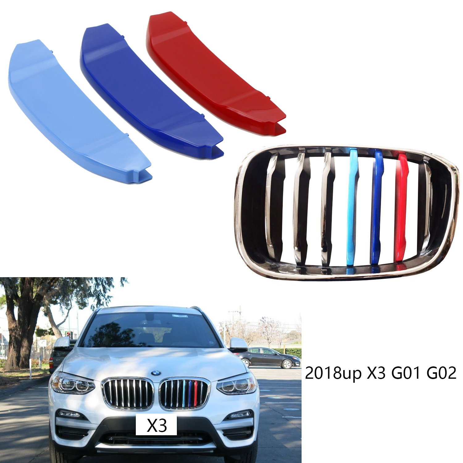 lanyun M Color X Series Grille Insert Trims Decorate for BMW G01 X3 or G02 x4 Grill Stripes (18-up G01 G02 X3 7-Beam grillr Insert)