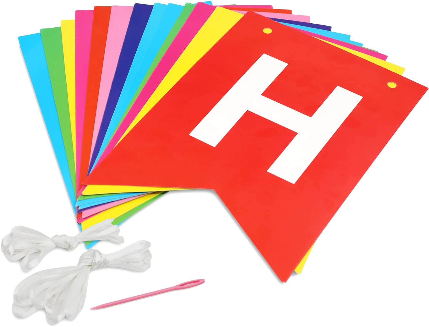 6.5 Ft /& 8.5 Ft Multicolor Letter Birthday Party Hanging Decorations Novelty Place Rainbow Happy Birthday Banner Bunting