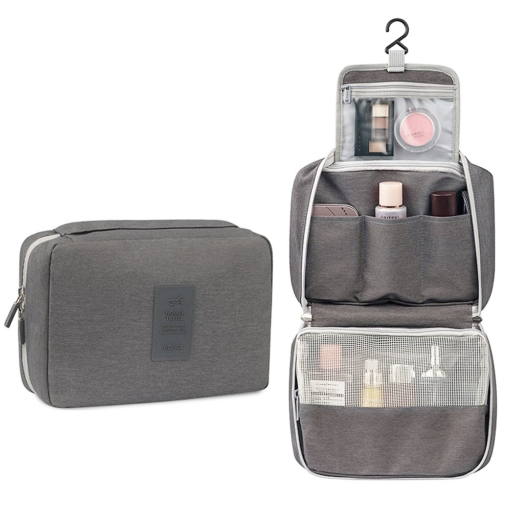 Hanging Toiletry Bag Portable Bathroom Makeup Bag Toiletries Organizer Waterproof Cosmetic Pouch Travel Brush Holder Pencil Storage Case with Mesh Pockets&Hook for Women Men (Gray)