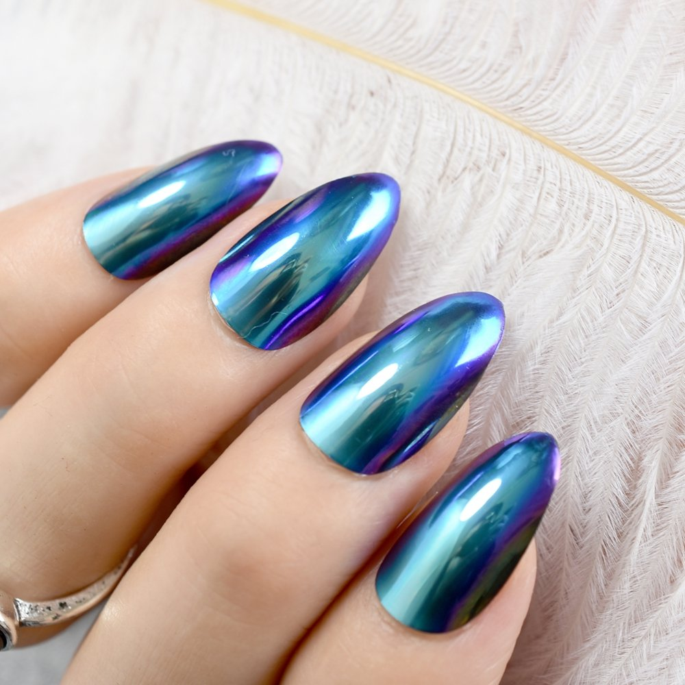 Artificial Nail Tips Silver False Nails Stiletto Metallic Shiny Bling Fake Nail Tips Mirror Chrome Health & Beauty
