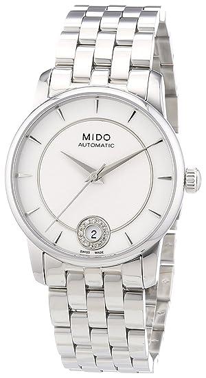 MIDO Baroncelli Big M0072071103600 - Reloj de mujer automático, correa de acero inoxidable color plata