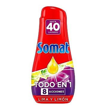 Somat Todo en 1 Gel Lavavajillas Lima y Limón 40 Lavados (720ml ...