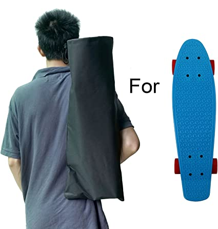 Black Skateboard Backpack Bag Single Shoulder Strap Skate Board Carrying Bag S//L