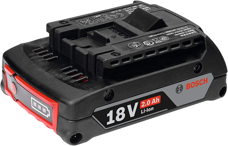 Bosch Professional GBA 18V 2.0Ah litio, 1 batería x 2.0 Ah, 18 V, Negro