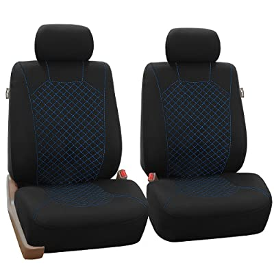 FH Group FB066BLUE102 Blue Fabric Cloth Seat Cover Front with Ornate Diamond Stitching, Set of 2 (Airbag Compatible): Automotive