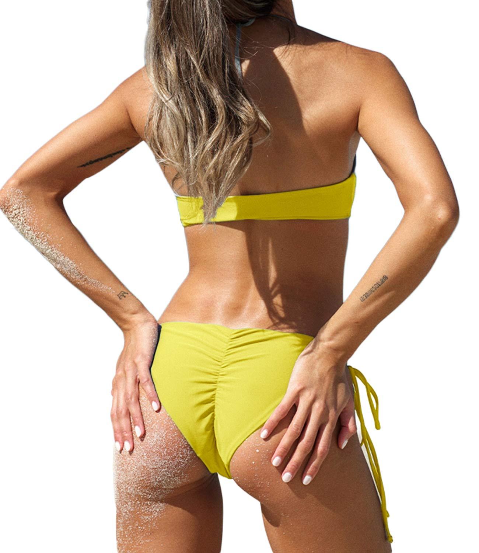 c0d6d21dcab KIWI RATA 2017 New Womens Swimwear Sexy Tie Side Sweet Heart Brazilian  Bikini Bottom Hipster Swimsuit Beachwear Swimwear (M, Yellow)