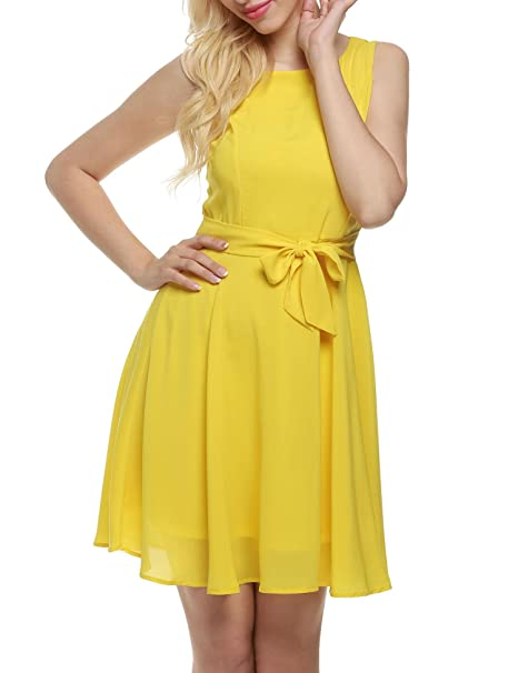 Dicesnow Women Chiffon Belt O Neck Sleeveless Pleated Dress Casual Leisure Travel Fashion Slim Loose Maxi