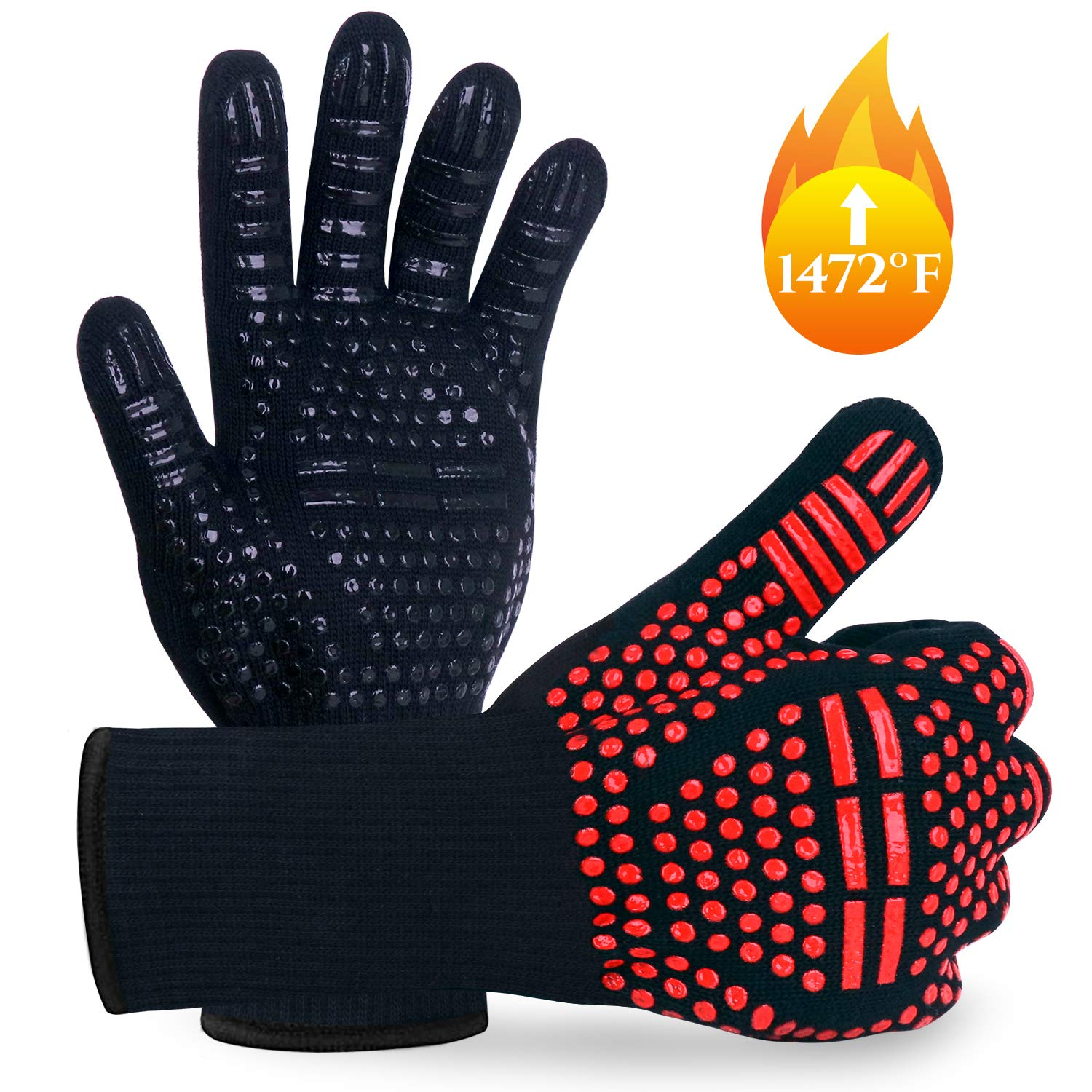 Upgraded BBQ Gloves 1472℉ Extreme Heat Resistant Grill Gloves, Food Grade Kitchen Oven Mitts, Silicone Non-Slip Cooking Gloves for Barbecue, Cooking, Baking, Welding, Cutting, 14 Inch (Red+Black) by MUEAST