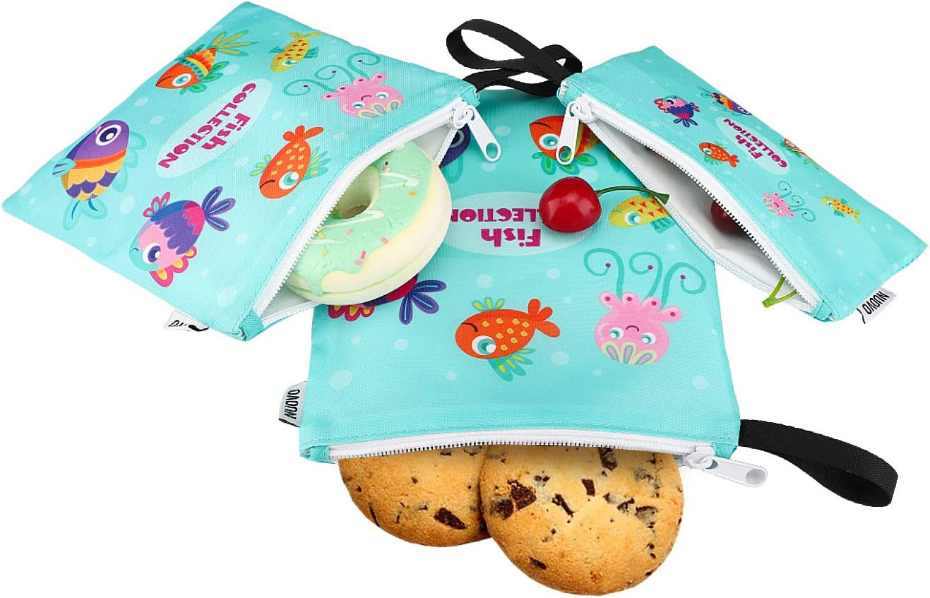 Nuovoware Sandwich Bags Snack Bags [3 Pack] Zipper Bag for Men & Women, Boys & Girls, Food Storage for Cookie Nuts Candy Hamburgers Fruits, Reusable, Eco-friendly and Washable - Cartoon Fish