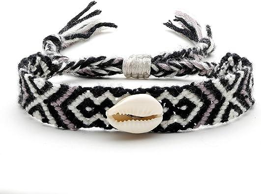COTTVOTT 2pcs Woven Friendship Wrap Bracelet Lucky Knitted Word Braided Bracelets for Women Girls Gift
