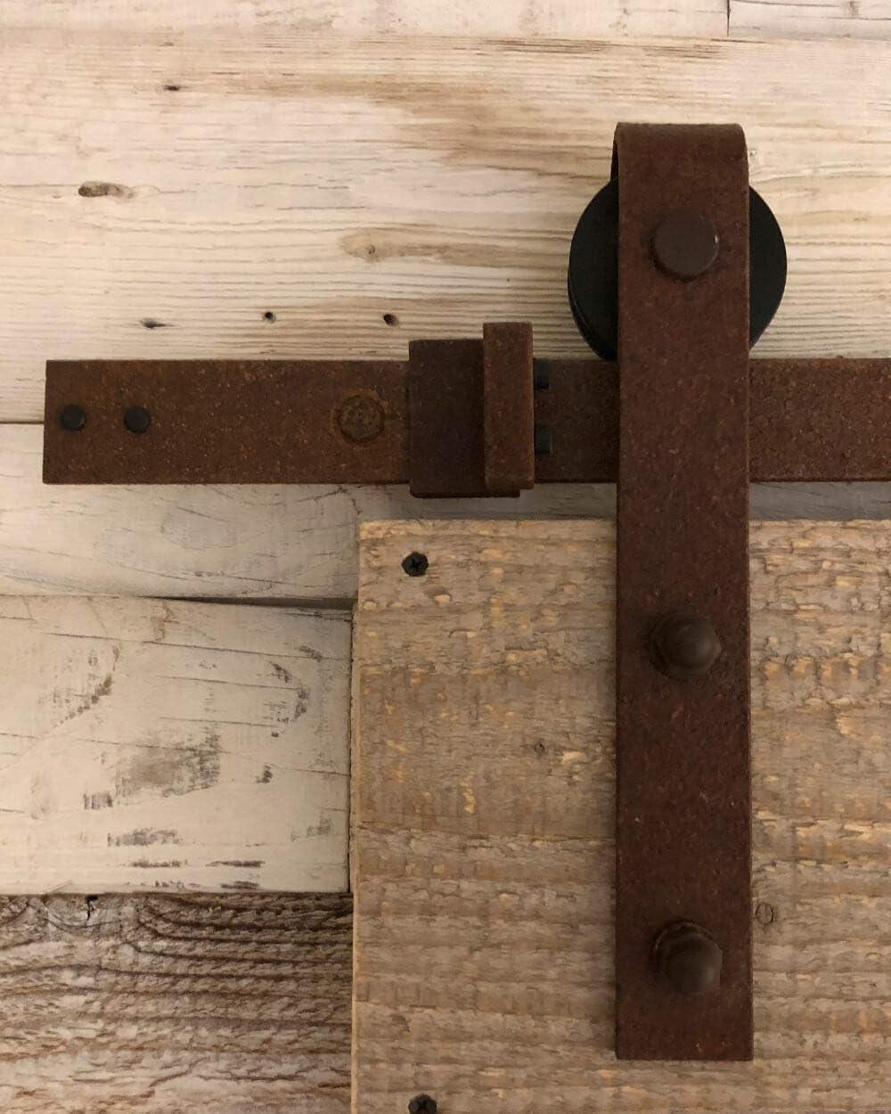 Sistema de puerta corredera recta 200 cm – Juego completo con ruedas y carril – Sistema de puerta corredera recta de 2 metros – 3 colores - Rust