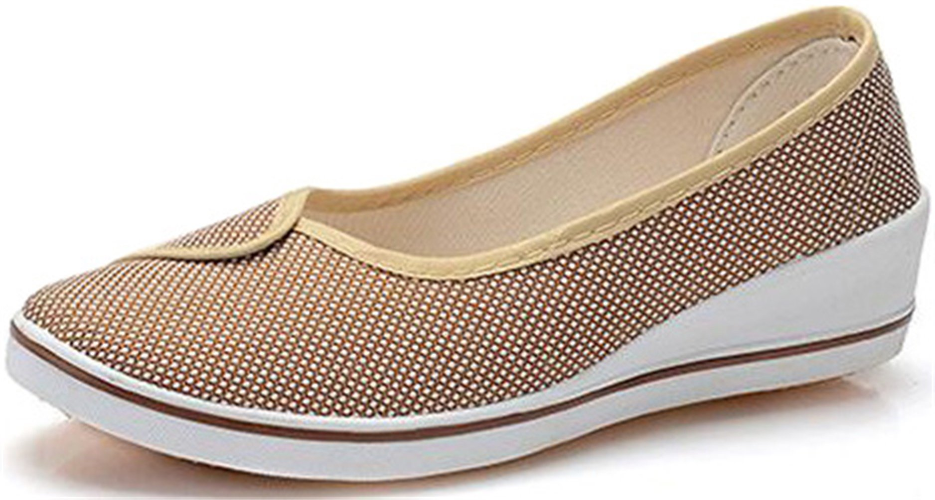PPXID Women's Canvas Wedge Slip On Loafers Dancing Shoes-Beige 7.5 US Size