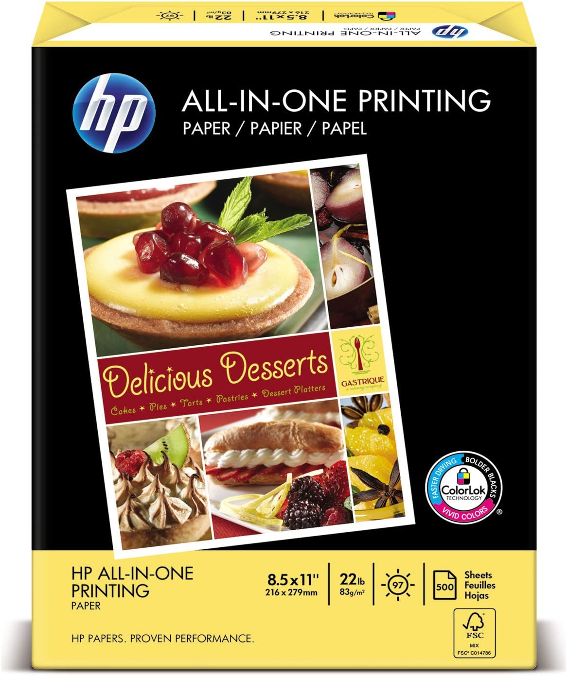"HP All-In-One Printing Paper - Letter - 8.5"" x 11"" - 22lb - 96 GE/112 ISO (D65) Brightness - 500 / Ream - White"