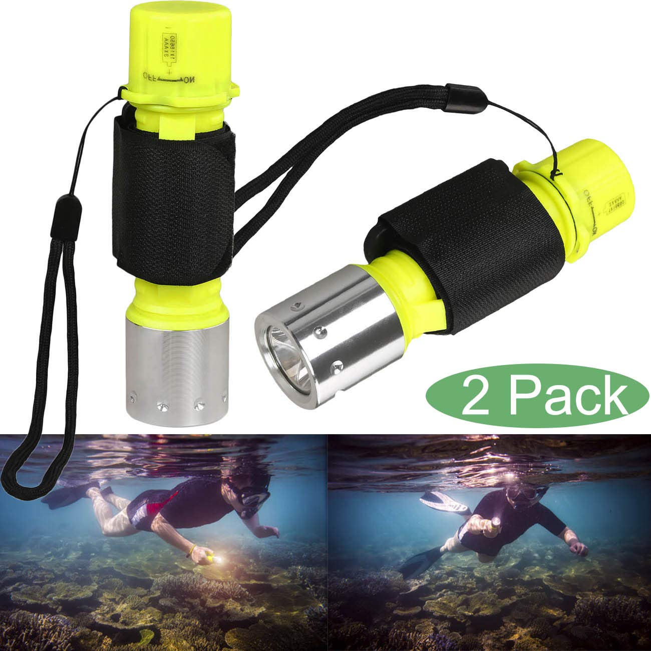 Garberiel 2 Pack Diving Flashlight, Super Bright Diving Light 3 Modes Underwater Torch for Scuba Diving, Night Snorkeling (Battery Not Include) by Garberiel