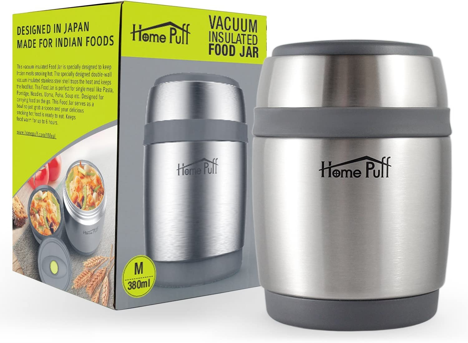 HomePuff Vacuum Insulated Food Jar Thermos & Container - Stainless Steel, Double Wall (12.8 Oz)